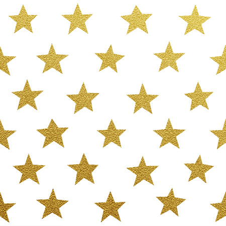 Gold glittering stars seamles pattern on white background