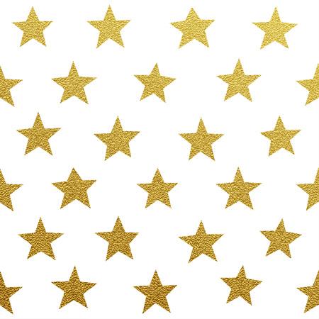 estrella: Oro brillante patrón seamles estrellas sobre fondo blanco Vectores