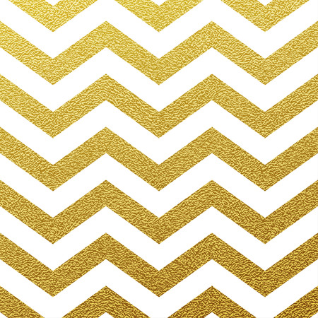 Gold glittering zigzag seamless pattern on white background Ilustração