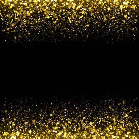 polvo: Oro fondo del brillo de la chispa. Glitter estrellas de fondo. Fondo flujo espumoso