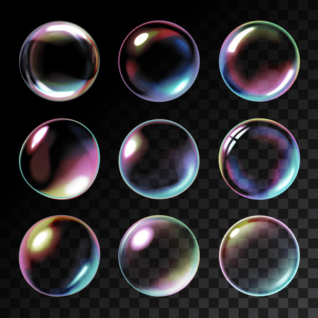 blowing: Realistic soap bubbles with rainbow reflection Illustration