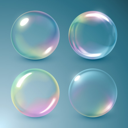 bubbles in water: Realistic soap bubbles with rainbow reflection Illustration