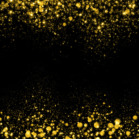 amarillo y negro: Oro fondo del brillo de la chispa. Glitter estrellas de fondo. Fondo flujo espumoso