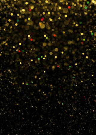black textured background: Gold sparkle glitter background. Glitter stars background. Sparkling flow background