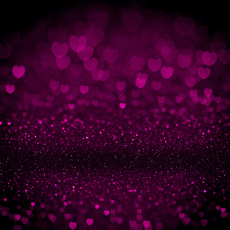 night and day: Heart valentine light sparkling bokeh background