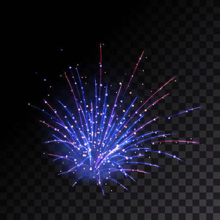 5th: Sparkling fireworks explosions. Vector illustration Illustration