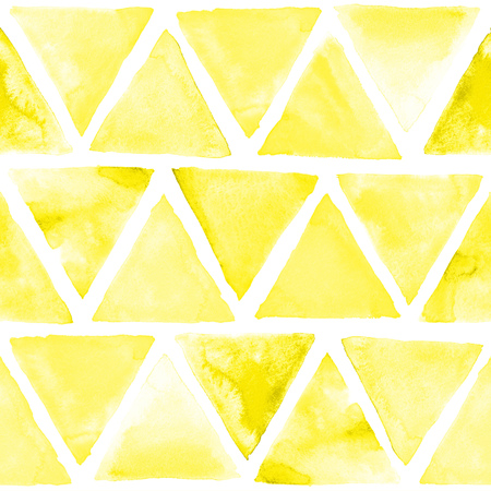 mosaic background: Seamless abstract watercolor retro triangular background. Colorful hipster pattern with triangle mosaic. Art hand paint isolated on white background.