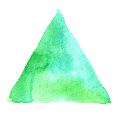 bluegreen: Abstract watercolor art hand paint isolated on white background. Watercolor stains. Triangle blue-green watercolour banner Stock Photo