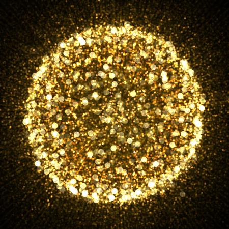 Gold sparkle glitter background. Glittering stars explosion