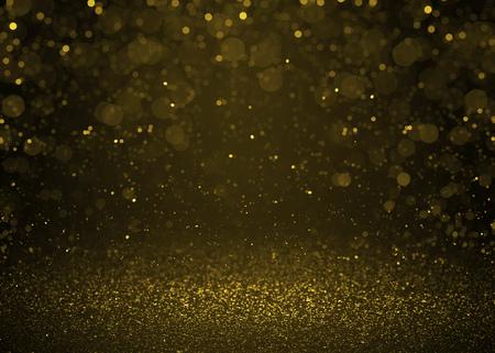 Destacado bokeh oro brillo brillo de fondo. Desenfocado estrellas del brillo de fondo Foto de archivo - 46699821