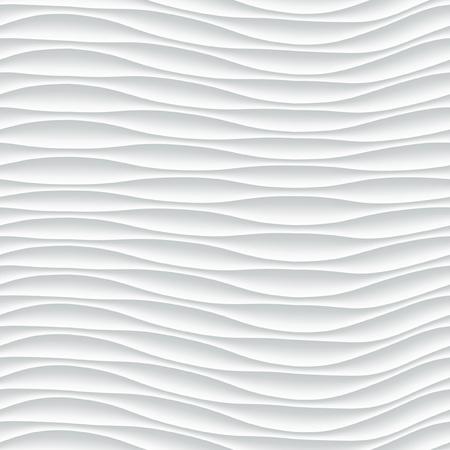 白いシームレスなテクスチャです。波状の背景。内壁の装飾。3 D ベクトル内壁パネル パターン。抽象的な波の白い背景をベクトルします。