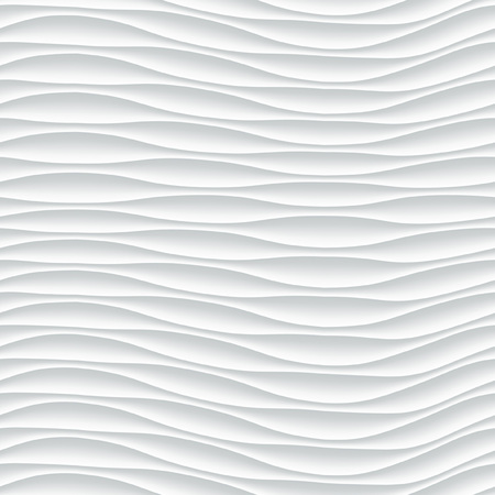 White seamless texture. Wavy background. Interior wall decoration. 3D Vector interior wall panel pattern. Vector white background of abstract waves. Illusztráció