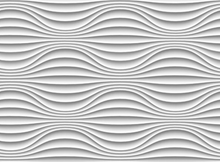 seamless texture: White seamless texture. Wavy background. Interior wall decoration. 3D Vector interior wall panel pattern. Illustration