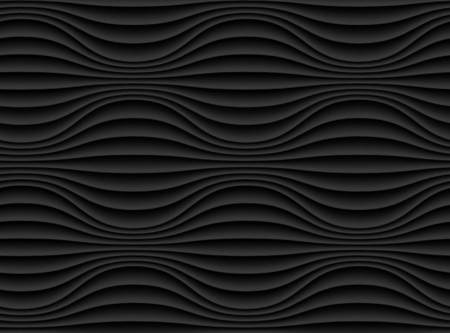 modern interieur: Dark black seamless texture. Wavy background. Interior wall decoration. 3D Vector interior wall panel pattern. Modern wavy black design wall.