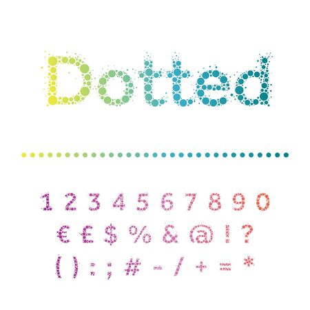 punctuation marks: Vector dotted font. Bright modern multicircles type. Numbers, special symbols and punctuation marks.