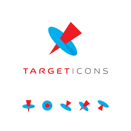 intentions: Target pin icons set. Core concept symbols