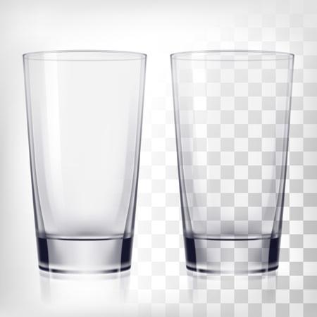 空の飲むガラスのコップ。透明の背景上の透明なガラス