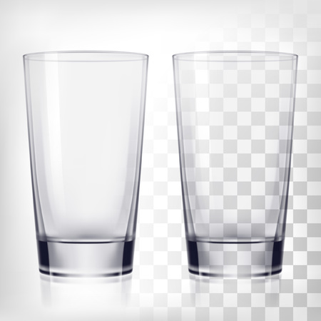 Empty drinking glass cups. Transparent glass on transparent background Vettoriali