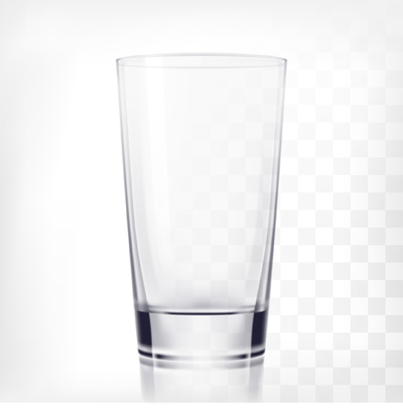 Empty drinking glass cup. Transparent glass on transparent background Illustration
