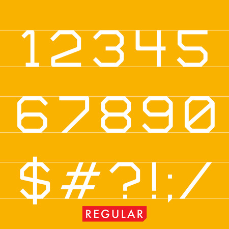 Geometrical monotype typeface numbers symbols Regular. Logic rational geometry and strict adherence to the grid.