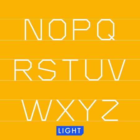 monotype: Geometrical monotype typeface N to Z Light. Logic rational geometry and strict adherence to the grid.