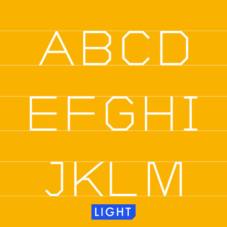 Geometrical monotype typeface A to M Light. Logic rational geometry and strict adherence to the grid.