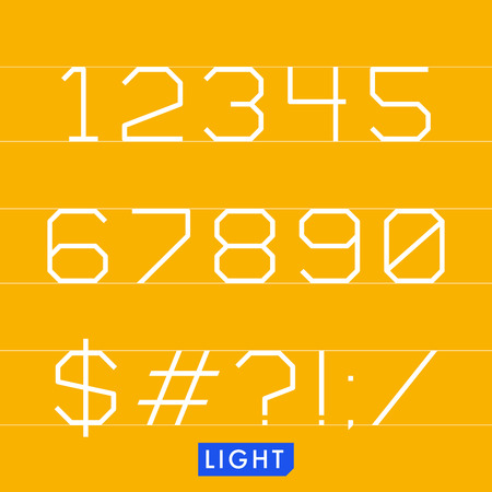 Geometrical monotype typeface numbers symbols Light. Logic rational geometry and strict adherence to the grid.