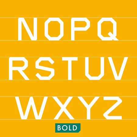 monotype: Geometrical monotype typeface N to Z Bold. Logic rational geometry and strict adherence to the grid.