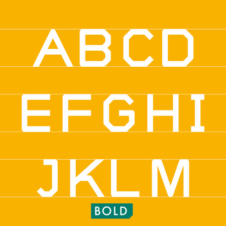 Geometrical monotype typeface A to M Bold. Logic rational geometry and strict adherence to the grid.
