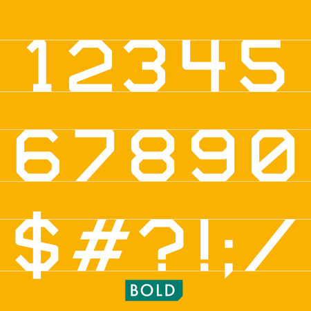 Geometrical monotype typeface numbers symbols Bold. Logic rational geometry and strict adherence to the grid.