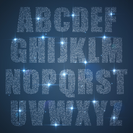 diamond letters: Alphabet set of glittering sequins uppercase
