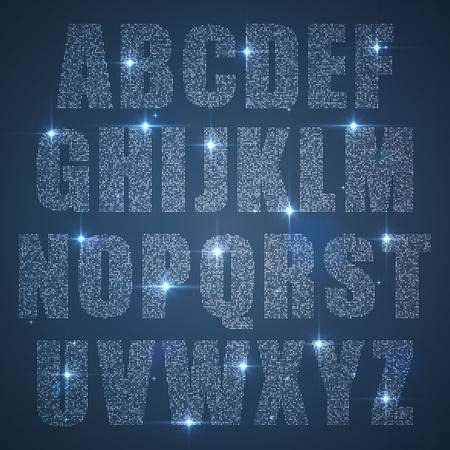 diamante: Conjunto del alfabeto de lentejuelas brillantes mayúsculas
