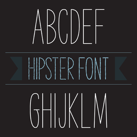monotype: Modern minimal hipster font alphabet set A to M Regular