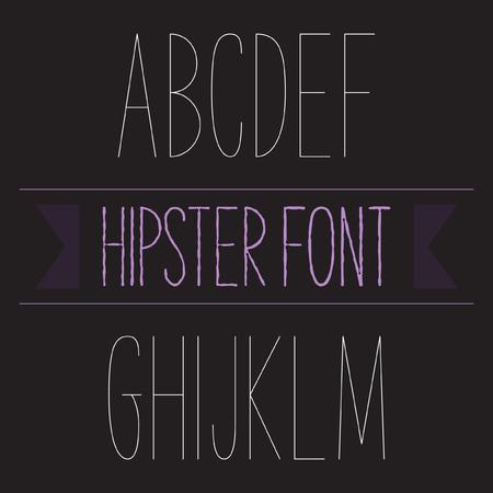 monotype: Modern minimal hipster font alphabet set A to M Thin. Sans-serif elegant light font