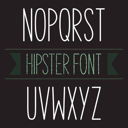 monotype: Modern minimal hipster font alphabet set N to Z Bold Illustration