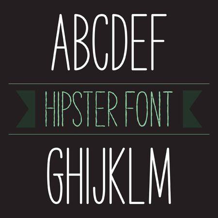 monotype: Modern minimal hipster font alphabet set A to M Bold. Sans-serif elegant light font. Vector alphabet letters design.