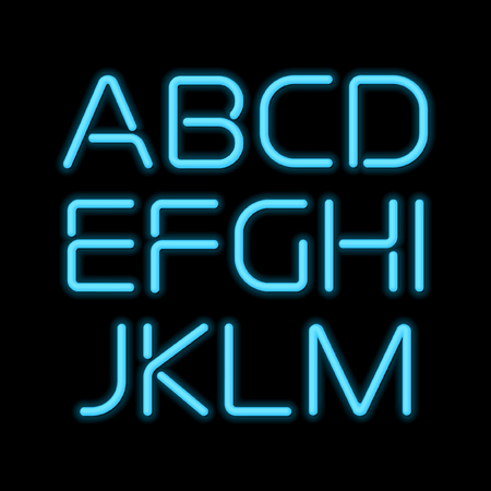 3D realistic blue neon letters A to M