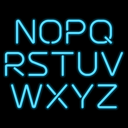display type: 3D realistic blue neon letters N to Z Illustration