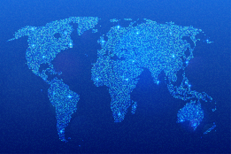 base: World map of glittering sequins. Depiction of continents and oceans in shimmering base