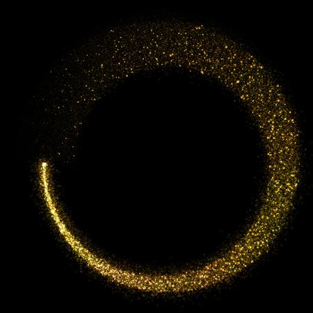 amarillo y negro: Brillante estrella c�rculo de polvo bokeh sobre fondo negro