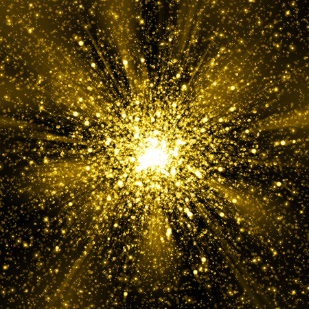 Gold sparkling glitter cosmic space explosion