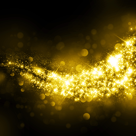 Glittering star dust bokeh on black background