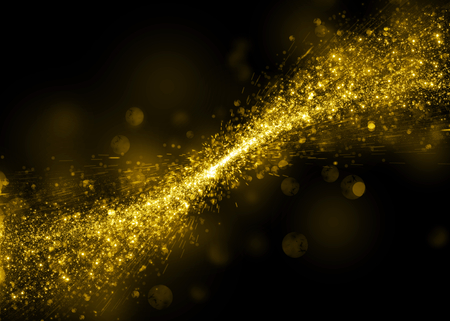golden light: Glittering star dust bokeh on black background