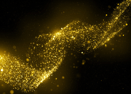 Glinsterende ster stof bokeh op zwarte achtergrond