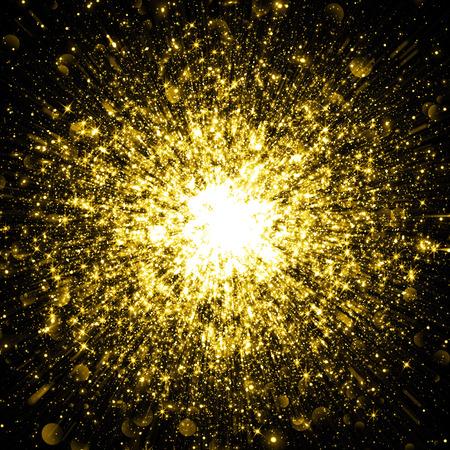 polvo: Brillo chispeante del oro espacio c�smico explosi�n