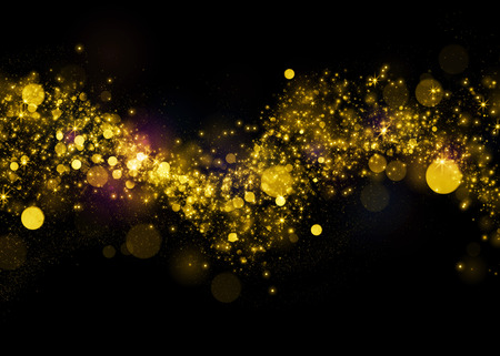 amarillo y negro: Brillante estrella bokeh polvo sobre fondo negro