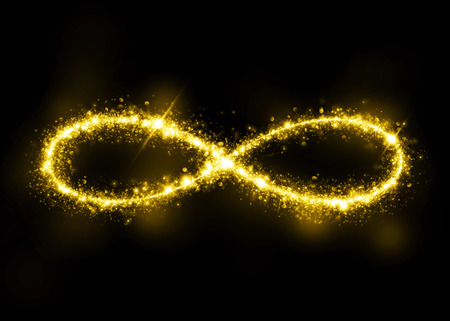 ellipse: Gold glittering star dust infinity loop. Twinkling ellipse.