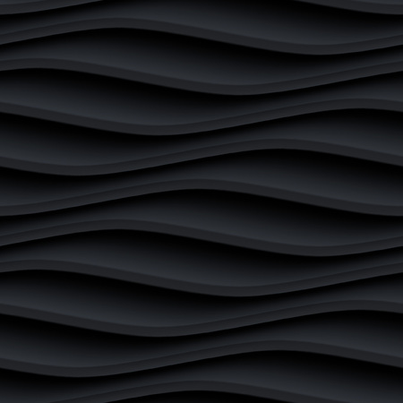 Black panel wavy seamless texture. interior textured wall decoration.