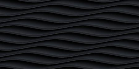 textured wall: Black panel wavy seamless texture. interior textured wall decoration.
