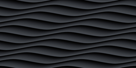 interior decoration: Black panel wavy seamless texture. interior textured wall decoration.